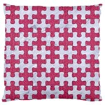 PUZZLE1 WHITE MARBLE & PINK DENIM Large Cushion Case (Two Sides) Front