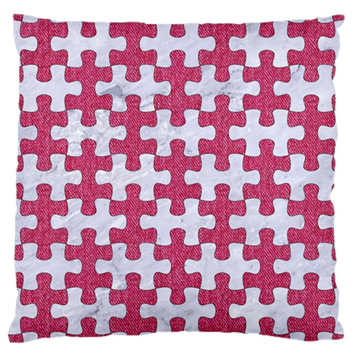 PUZZLE1 WHITE MARBLE & PINK DENIM Large Cushion Case (Two Sides)