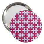 PUZZLE1 WHITE MARBLE & PINK DENIM 3  Handbag Mirrors Front
