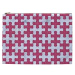 PUZZLE1 WHITE MARBLE & PINK DENIM Cosmetic Bag (XXL)  Front