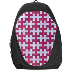 Puzzle1 White Marble & Pink Denim Backpack Bag