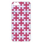 PUZZLE1 WHITE MARBLE & PINK DENIM Apple iPhone 5 Seamless Case (White) Front