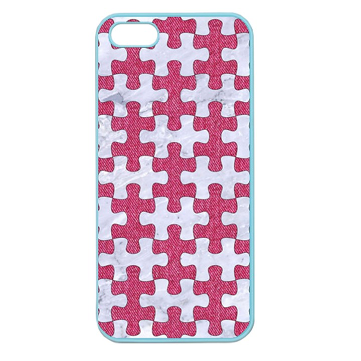 PUZZLE1 WHITE MARBLE & PINK DENIM Apple Seamless iPhone 5 Case (Color)