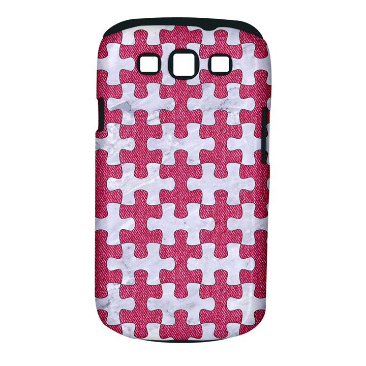 PUZZLE1 WHITE MARBLE & PINK DENIM Samsung Galaxy S III Classic Hardshell Case (PC+Silicone)