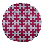 PUZZLE1 WHITE MARBLE & PINK DENIM Large 18  Premium Round Cushions Front