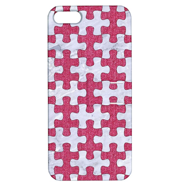 PUZZLE1 WHITE MARBLE & PINK DENIM Apple iPhone 5 Hardshell Case with Stand