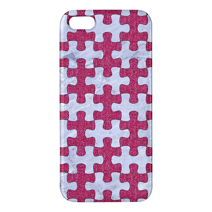 PUZZLE1 WHITE MARBLE & PINK DENIM Apple iPhone 5 Premium Hardshell Case