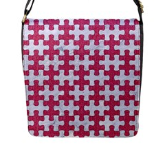 Puzzle1 White Marble & Pink Denim Flap Messenger Bag (l)  by trendistuff