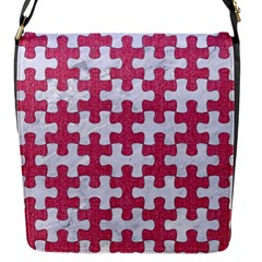 Puzzle1 White Marble & Pink Denim Flap Messenger Bag (s) by trendistuff