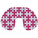 PUZZLE1 WHITE MARBLE & PINK DENIM Travel Neck Pillows Back