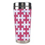 PUZZLE1 WHITE MARBLE & PINK DENIM Stainless Steel Travel Tumblers Left