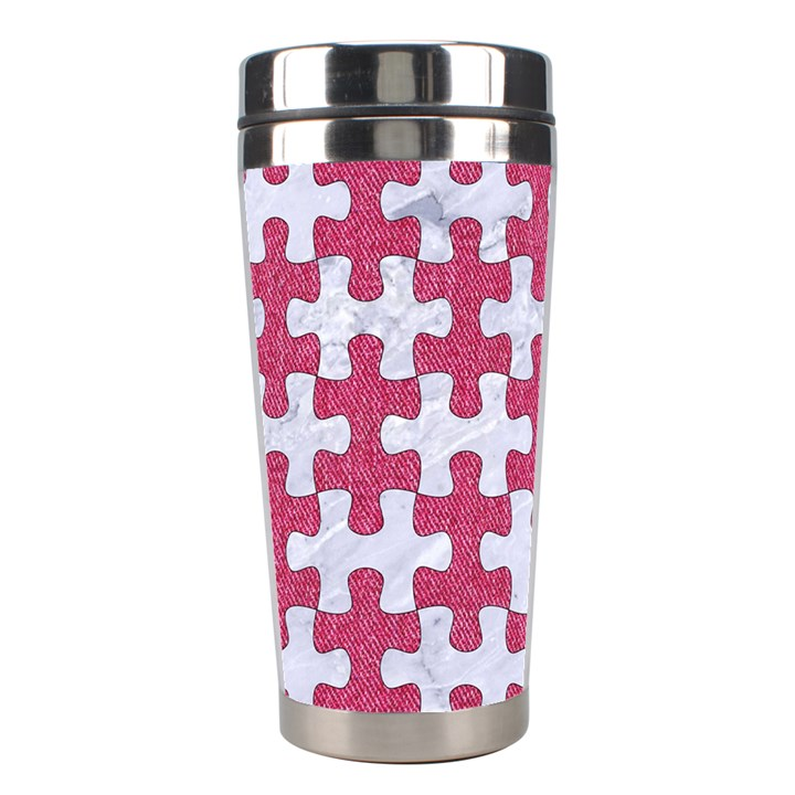 PUZZLE1 WHITE MARBLE & PINK DENIM Stainless Steel Travel Tumblers
