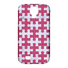 Puzzle1 White Marble & Pink Denim Samsung Galaxy S4 Classic Hardshell Case (pc+silicone)