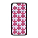 PUZZLE1 WHITE MARBLE & PINK DENIM Apple iPhone 5C Seamless Case (Black) Front