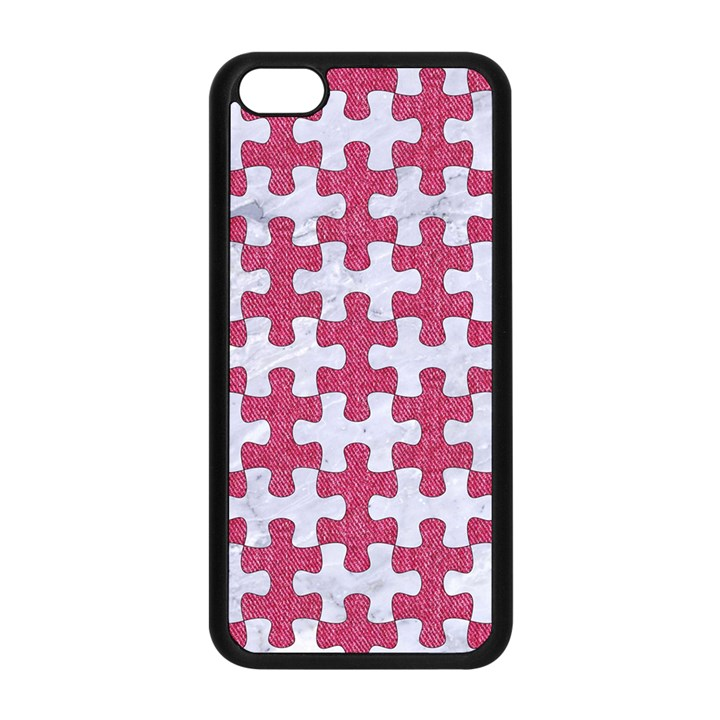 PUZZLE1 WHITE MARBLE & PINK DENIM Apple iPhone 5C Seamless Case (Black)