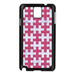 PUZZLE1 WHITE MARBLE & PINK DENIM Samsung Galaxy Note 3 N9005 Case (Black) Front