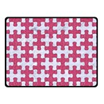 PUZZLE1 WHITE MARBLE & PINK DENIM Double Sided Fleece Blanket (Small)  45 x34 Blanket Front