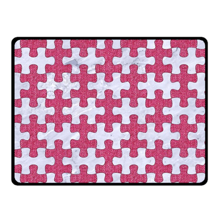 PUZZLE1 WHITE MARBLE & PINK DENIM Double Sided Fleece Blanket (Small)