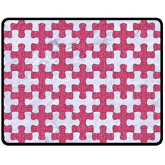 Puzzle1 White Marble & Pink Denim Double Sided Fleece Blanket (medium)  by trendistuff