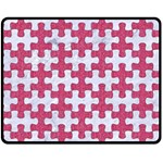 PUZZLE1 WHITE MARBLE & PINK DENIM Double Sided Fleece Blanket (Medium)  58.8 x47.4 Blanket Back
