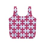 PUZZLE1 WHITE MARBLE & PINK DENIM Full Print Recycle Bags (S)  Front