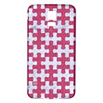 PUZZLE1 WHITE MARBLE & PINK DENIM Samsung Galaxy S5 Back Case (White) Front
