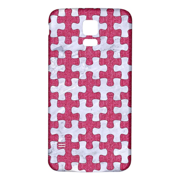 PUZZLE1 WHITE MARBLE & PINK DENIM Samsung Galaxy S5 Back Case (White)