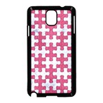 PUZZLE1 WHITE MARBLE & PINK DENIM Samsung Galaxy Note 3 Neo Hardshell Case (Black) Front