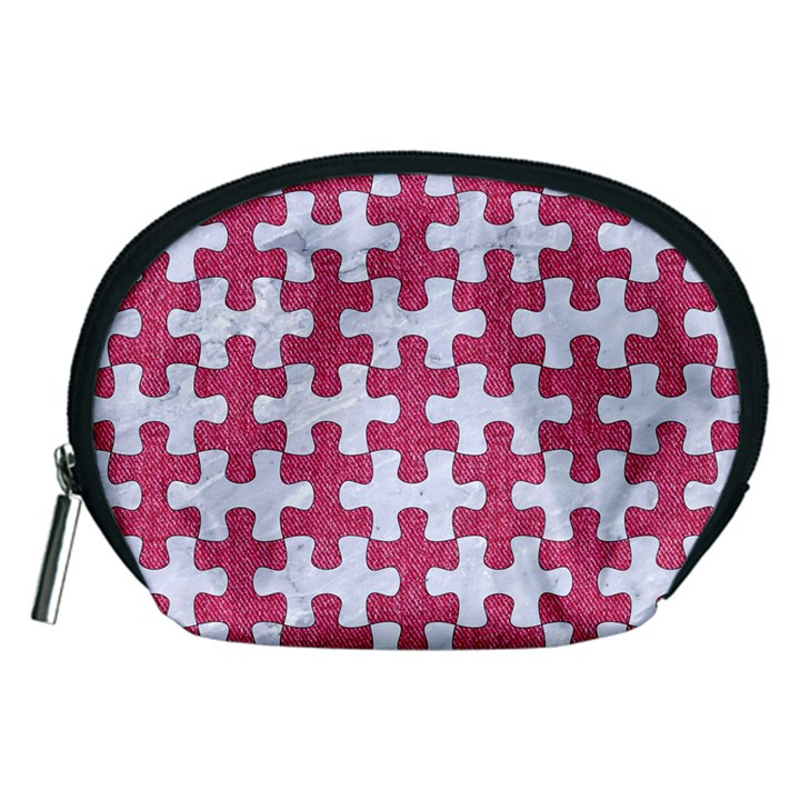 PUZZLE1 WHITE MARBLE & PINK DENIM Accessory Pouches (Medium)