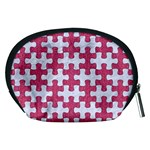 PUZZLE1 WHITE MARBLE & PINK DENIM Accessory Pouches (Medium)  Back