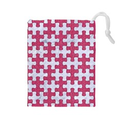 Puzzle1 White Marble & Pink Denim Drawstring Pouches (large)