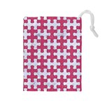 PUZZLE1 WHITE MARBLE & PINK DENIM Drawstring Pouches (Large)  Front