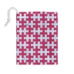 PUZZLE1 WHITE MARBLE & PINK DENIM Drawstring Pouches (Large)  Back