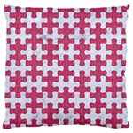 PUZZLE1 WHITE MARBLE & PINK DENIM Large Flano Cushion Case (One Side) Front