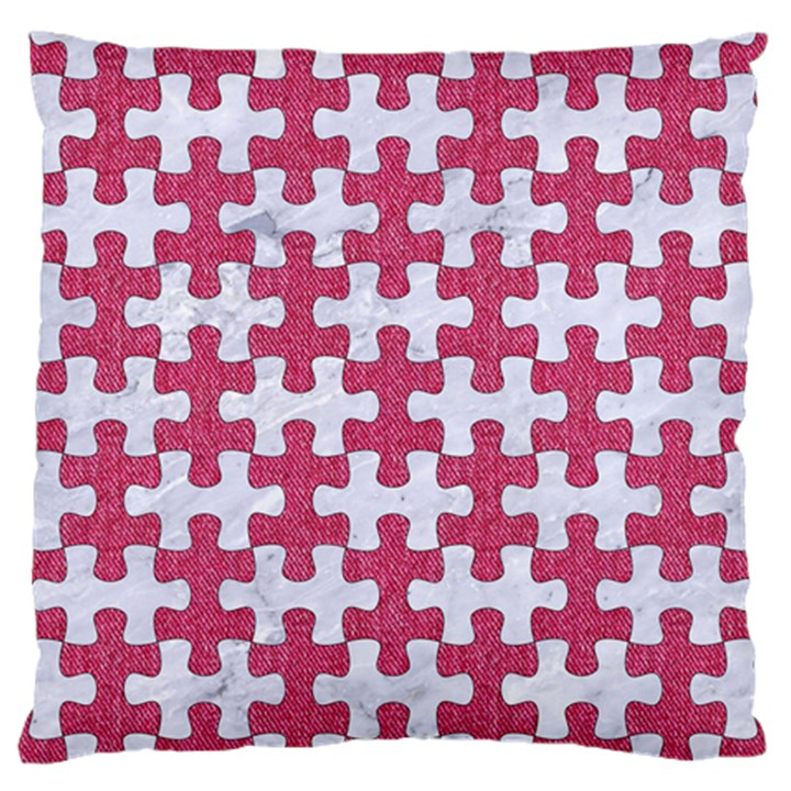 PUZZLE1 WHITE MARBLE & PINK DENIM Large Flano Cushion Case (One Side)