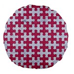PUZZLE1 WHITE MARBLE & PINK DENIM Large 18  Premium Flano Round Cushions Front