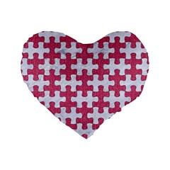 Puzzle1 White Marble & Pink Denim Standard 16  Premium Flano Heart Shape Cushions