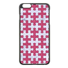 Puzzle1 White Marble & Pink Denim Apple Iphone 6 Plus/6s Plus Black Enamel Case