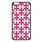 PUZZLE1 WHITE MARBLE & PINK DENIM Apple iPhone 6 Plus/6S Plus Black Enamel Case Front