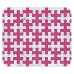 PUZZLE1 WHITE MARBLE & PINK DENIM Double Sided Flano Blanket (Small)  50 x40 Blanket Back