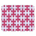 PUZZLE1 WHITE MARBLE & PINK DENIM Double Sided Flano Blanket (Large)  80 x60 Blanket Front