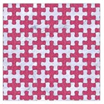 PUZZLE1 WHITE MARBLE & PINK DENIM Large Satin Scarf (Square) Front