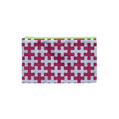 Puzzle1 White Marble & Pink Denim Cosmetic Bag (xs) by trendistuff