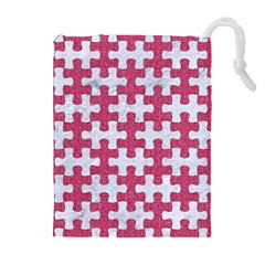 Puzzle1 White Marble & Pink Denim Drawstring Pouches (extra Large)