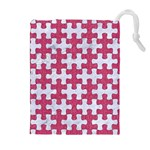 PUZZLE1 WHITE MARBLE & PINK DENIM Drawstring Pouches (Extra Large) Front