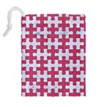 PUZZLE1 WHITE MARBLE & PINK DENIM Drawstring Pouches (Extra Large) Back