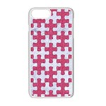PUZZLE1 WHITE MARBLE & PINK DENIM Apple iPhone 7 Plus Seamless Case (White) Front