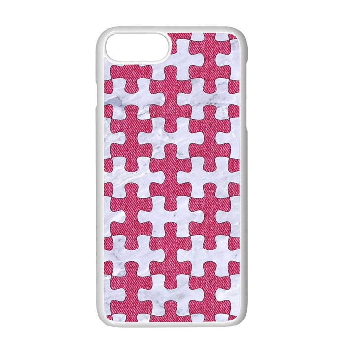PUZZLE1 WHITE MARBLE & PINK DENIM Apple iPhone 7 Plus Seamless Case (White)