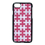 PUZZLE1 WHITE MARBLE & PINK DENIM Apple iPhone 7 Seamless Case (Black) Front