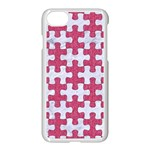 PUZZLE1 WHITE MARBLE & PINK DENIM Apple iPhone 8 Seamless Case (White) Front